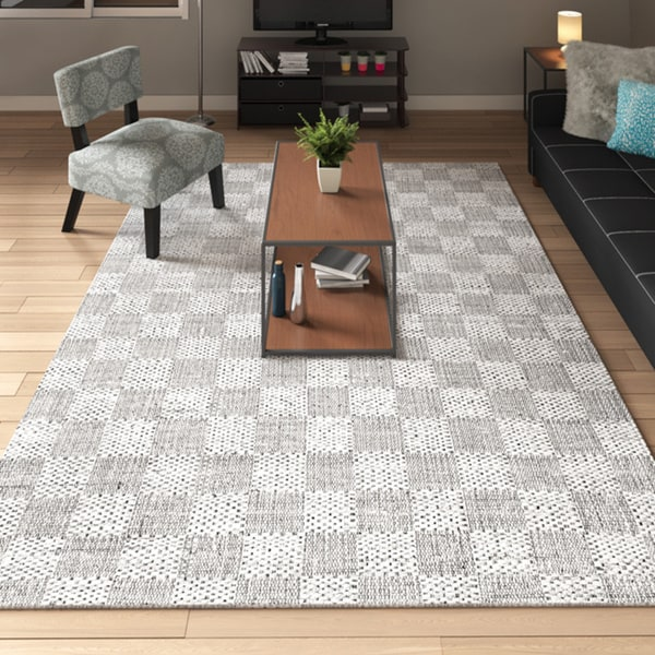 "Porch & Den Conselyea Contemporary Granite Abstract Leaves Grey Rug - 7'6"" x 9'6"""