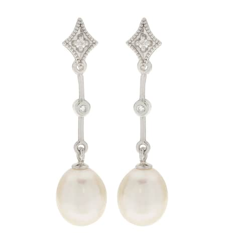 Pearls For You 14k White Freshwater Pearl and Diamond Drop Earrings