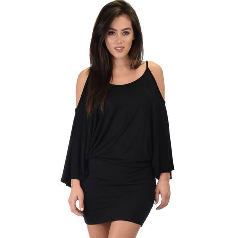 Lyss Loo Women's Cold Shoulder Dolman Dress