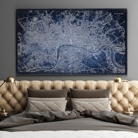 Antique London Map Blue - Premium Gallery Wrapped Canvas