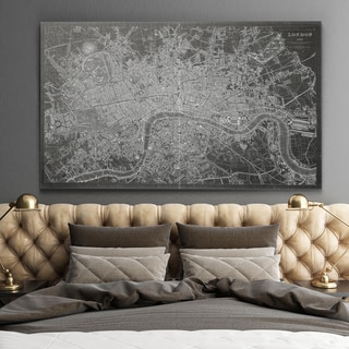 Antique London Map Grey - Premium Gallery Wrapped Canvas