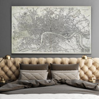 Antique London Map Dusty White - Premium Gallery Wrapped Canvas