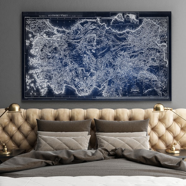 Antique Map of Turkey Blue - Premium Gallery Wrapped Canvas