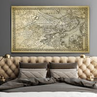 Vintage Boston Map - Premium Gallery Wrapped Canvas