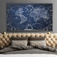Vintage Wold Map XII Blue 2 - Premium Gallery Wrapped Canvas