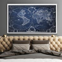 Vintage Wold Map XII Blue - Premium Gallery Wrapped Canvas