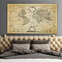 Vintage Wold Map XII Antique - Premium Gallery Wrapped Canvas