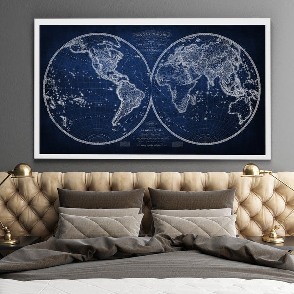 Vintage Wold Map XI Blue 2 - Premium Gallery Wrapped Canvas
