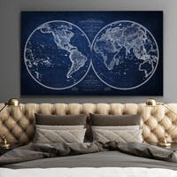 Vintage Wold Map XI Blue - Premium Gallery Wrapped Canvas
