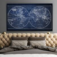 Vintage Wold Map X Blue - Premium Gallery Wrapped Canvas