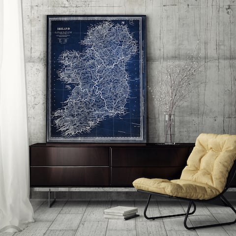 Vintage Ireland Map Blue - Premium Gallery Wrapped Canvas