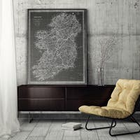 Vintage Ireland Map Grey - Premium Gallery Wrapped Canvas