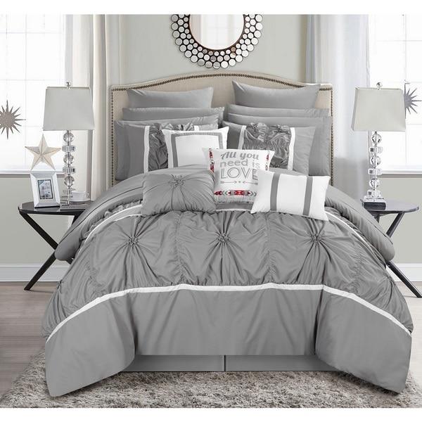 Chic Home 16-Piece Legaspi Grey Bed in a Bag Comforter Set