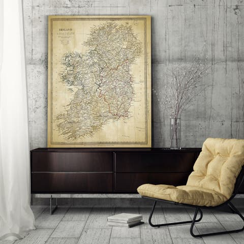 Vintage Ireland Map II - Premium Gallery Wrapped Canvas