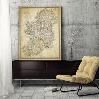 Vintage Ireland Map II - Premium Gallery Wrapped Canvas