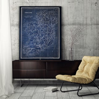 Vintage Irish Map Blue - Premium Gallery Wrapped Canvas