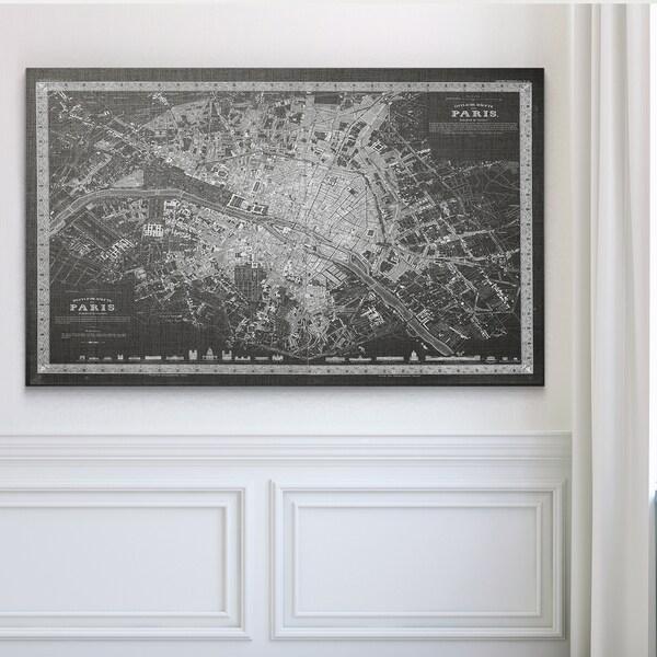 Vintage Paris Map Outline Grey Premium Gallery Wrapped Canvas - Paris map outline