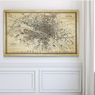 Vintage Paris Map Outline II - Premium Gallery Wrapped Canvas