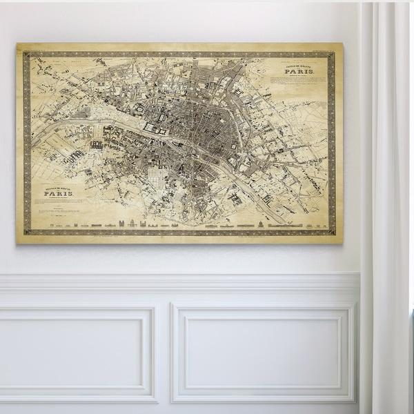 Vintage Paris Map Outline II Premium Gallery Wrapped Canvas - Paris map outline