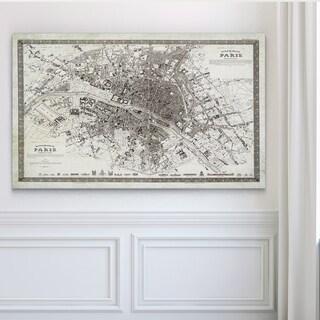 Vintage Paris Map Outline - Premium Gallery Wrapped Canvas