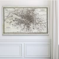 Vintage Paris Map Outline - Premium Gallery Wrapped Canvas