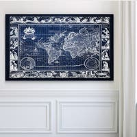 Vintage Wold Map VIIII Blue - Premium Gallery Wrapped Canvas