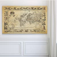 Vintage Wold Map VIIII Antique - Premium Gallery Wrapped Canvas