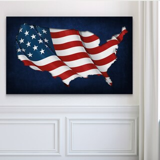 USA FLAG MAP - Premium Gallery Wrapped Canvas (4 options available)