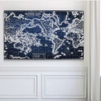 Vintage Wold Map VII Blue - Premium Gallery Wrapped Canvas