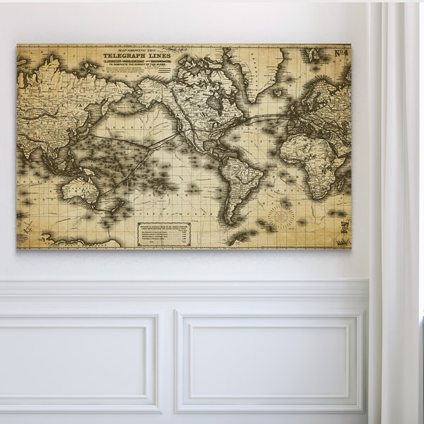 Vintage Wold Map VII Antique - Premium Gallery Wrapped Canvas