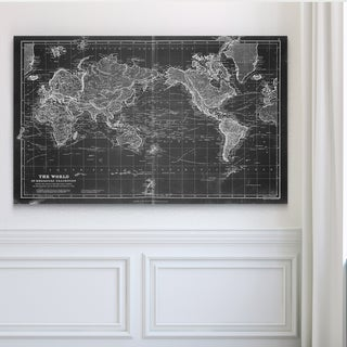 Vintage Wold Map VI Grey - Premium Gallery Wrapped Canvas