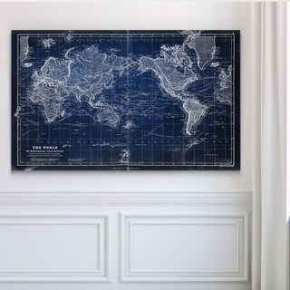 Vintage Wold Map VI Blue - Premium Gallery Wrapped Canvas