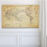 Vintage Wold Map VI Antique - Premium Gallery Wrapped Canvas