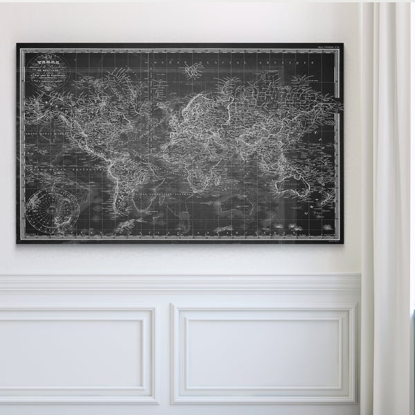 Vintage Wold Map V Grey - Premium Gallery Wrapped Canvas