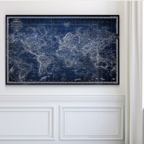 Vintage Wold Map v Blue Premium Gallery Wrapped Canvas