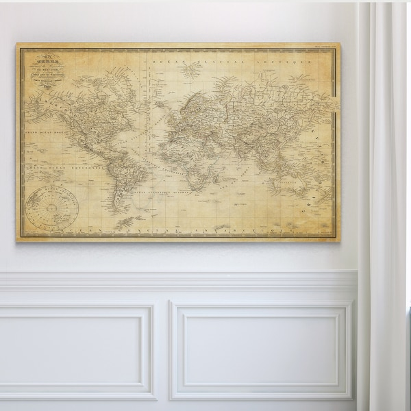 Vintage Wold Map v Parchment - Premium Gallery Wrapped Canvas. Opens flyout.