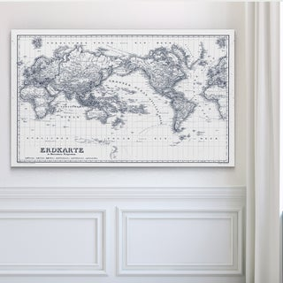 Vintage Wold Map IV Blue Outline - Premium Gallery Wrapped Canvas
