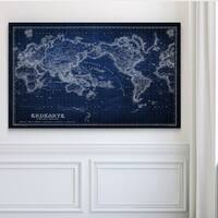 Vintage Wold Map IV Blue - Premium Gallery Wrapped Canvas