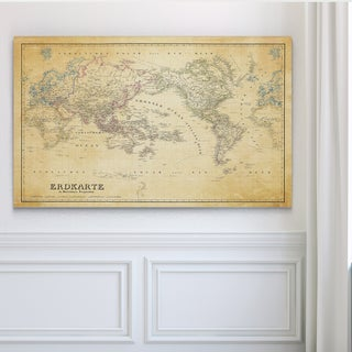 Vintage Wold Map IV Parchement - Premium Gallery Wrapped Canvas