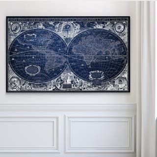 Blue Treasure Map - Premium Gallery Wrapped Canvas