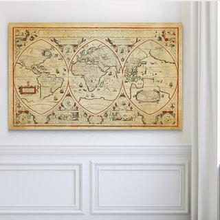 Vintage Wold Map III Parchment - Premium Gallery Wrapped Canvas