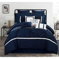 Chic Home 16-Piece Legaspi Navy Bed In a Bag Comforter Set