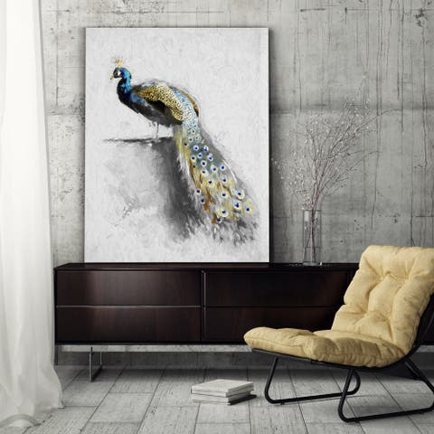 Golden Blue Peacock Feather II - Premium Gallery Wrapped Canvas