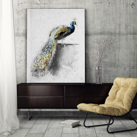 Golden Blue Peacock Feather I - Premium Gallery Wrapped Canvas