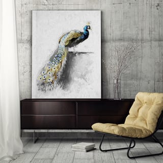 Golden Blue Peacock Feather I - Premium Gallery Wrapped Canvas|https://ak1.ostkcdn.com/images/products/14490929/P21049401.jpg?impolicy=medium