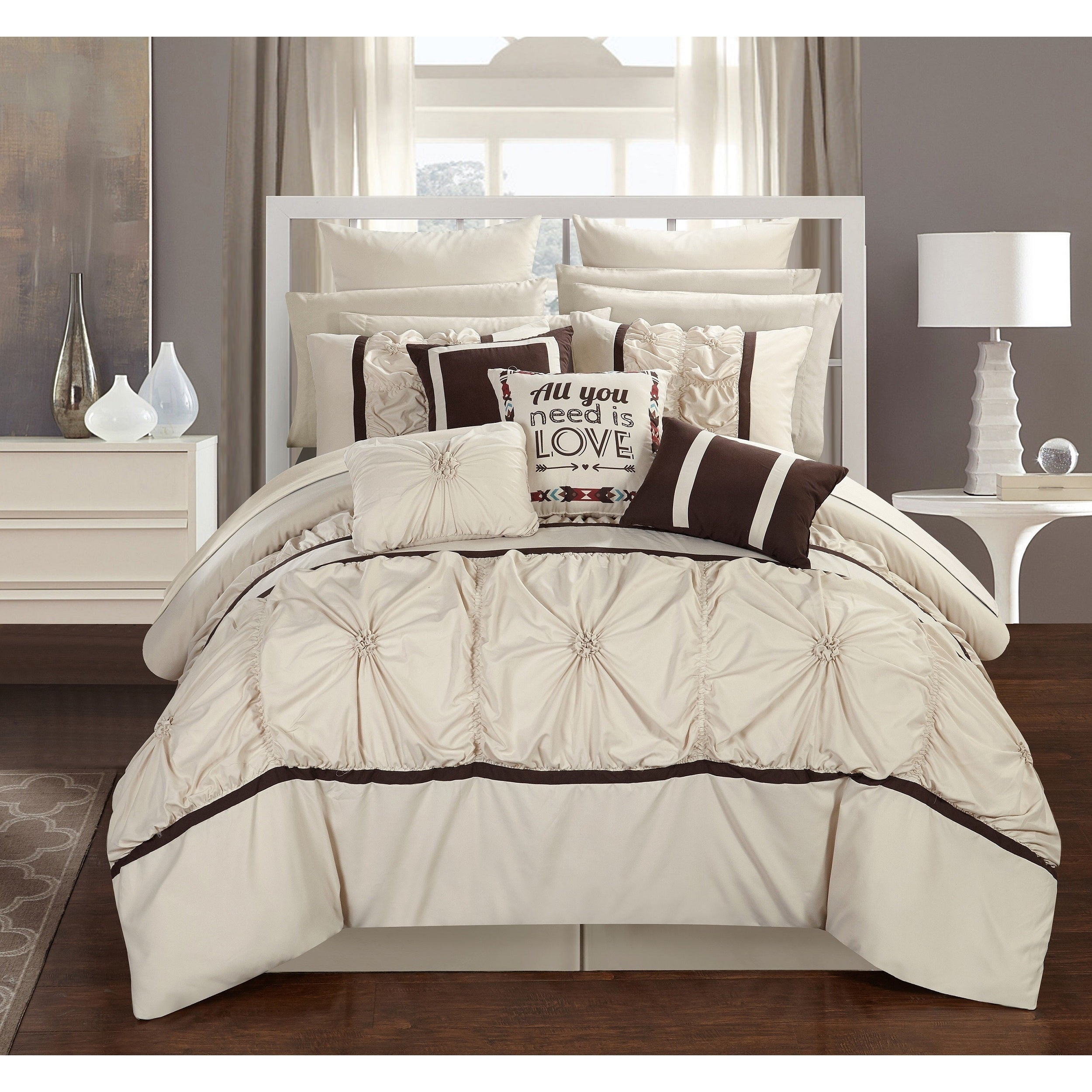 Chic Home 16-piece Legaspi Beige Bed In a Bag Comforter Set - Free ...