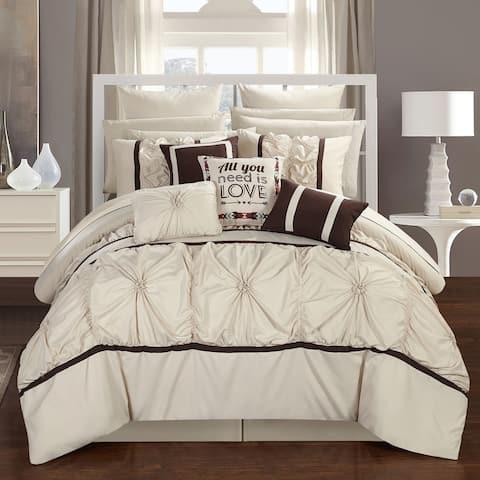 Chic Home 16-piece Legaspi Beige Bed In a Bag Comforter Set