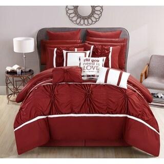 Chic Home 16-Piece Legaspi Marsala Bed In a Bag Comforter Set, Marsala