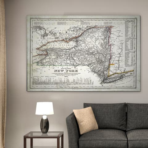 Vintage New Your Map I - Premium Gallery Wrapped Canvas