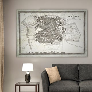 Vintage Madrid Map I - Premium Gallery Wrapped Canvas